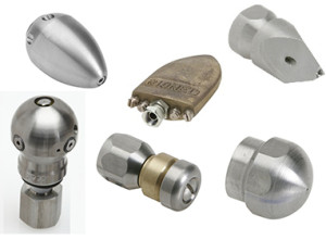Assortment of sewer jetting nozzles